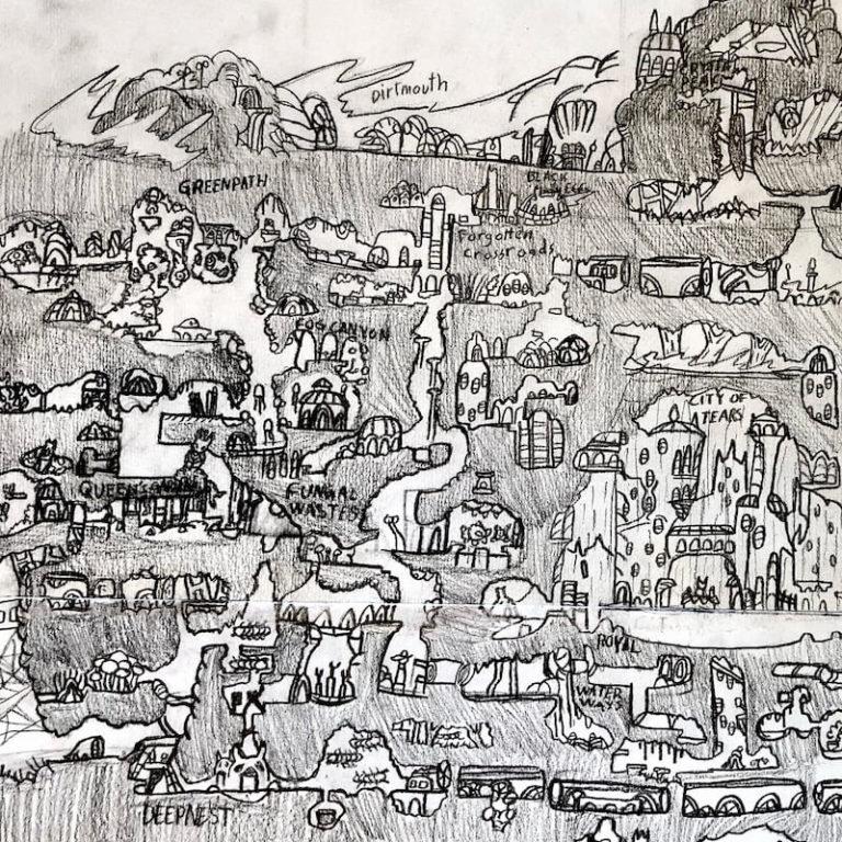 Kart fra utstilling fra tegnekurs