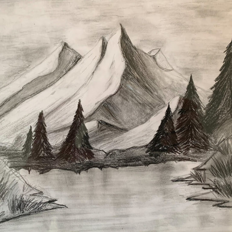 Stilig landskapsbilde fra tegnekurs