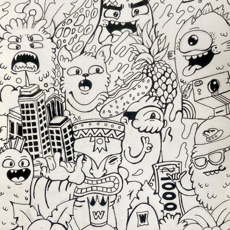 Tegneserie artwork fra utstilling i Oslo